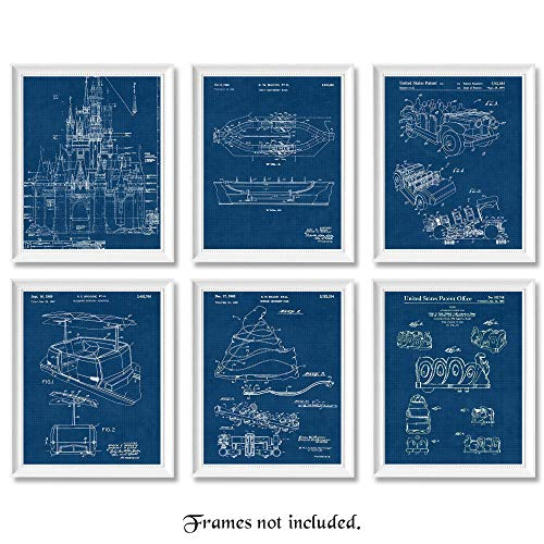 Vintage Disney Rides Patent Poster Prints, Set of 6 (8×10) Unframed Photos, Wall Art Decor Gifts Under 20 for Home, Office, Garage, Man Cave, Shop, College Student, Teacher, Theme Park & Movies Fan
