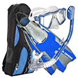 U.S. Divers Lux Platinum Snorkeling Set - Panoramic View Mask, Pivot Fins, Dry Top Snorkel + Gear Bag, Electric Blue S/M