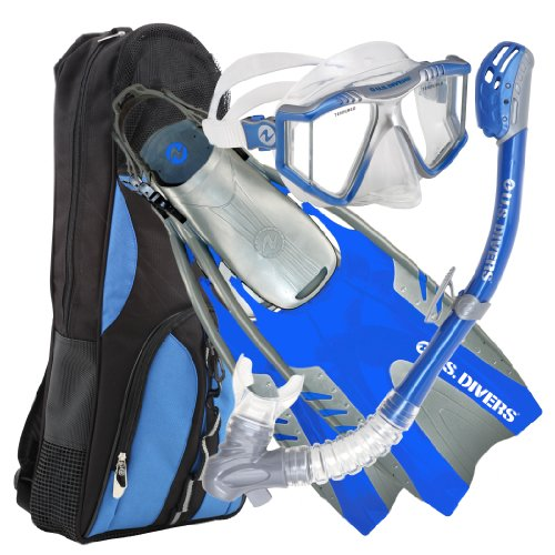 Snorkel Gear Set - U.S. Divers Lux Platinum Snorkeling Set - Panoramic View Mask, Pivot Fins, Dry Top Snorkel + Gear Bag, Electric Blue L/XL