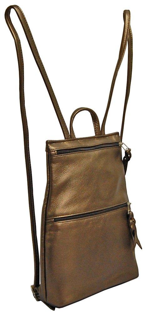 Sven Handbags Slim Leather Backpack - 326 Antique Brass