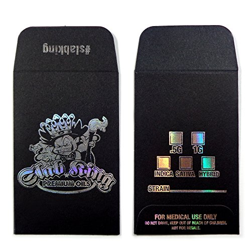 50 Original Black Silver SLAB KING Wax Shatter Labels Coin Holographic Foil Envelopes (Slabs Container)