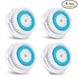 4 Pack Deep Pore Facial Cleansing Replacement Brush Heads for Mia 1, Mia2, Mia3 (Aria), SMART Profile, Alpha Fit, Pro, Plus and Radiance Cleansing Systems