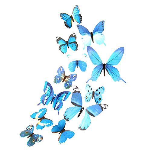 Cyhulu Creative Window Wall Decal, Beautiful Exquisite 12 Butterflies 3D Wall Mural Stickers for Home Bedroom Living Room Office Wall Decoration (Blue, One size)