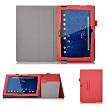 Acer Iconia One 10 B3-A30 case,KuGi ® Acer Iconia One 10 B3-A30 Multi-Angle Stand Slim-Book PU Leather Cover Case for Acer Iconia One 10 B3-A30 tablet (Red)