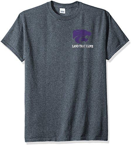 New World Graphics NCAA Kansas State Wildcats Flag Glory Short Sleeve Shirt, X-Large, Dark Heather -