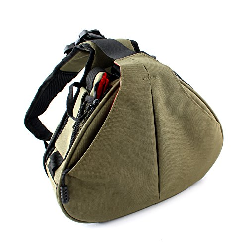 IDS Home Waterproof Triangle Messenger Bag for Canon Nikon Digital Camera Bag Green Nylon