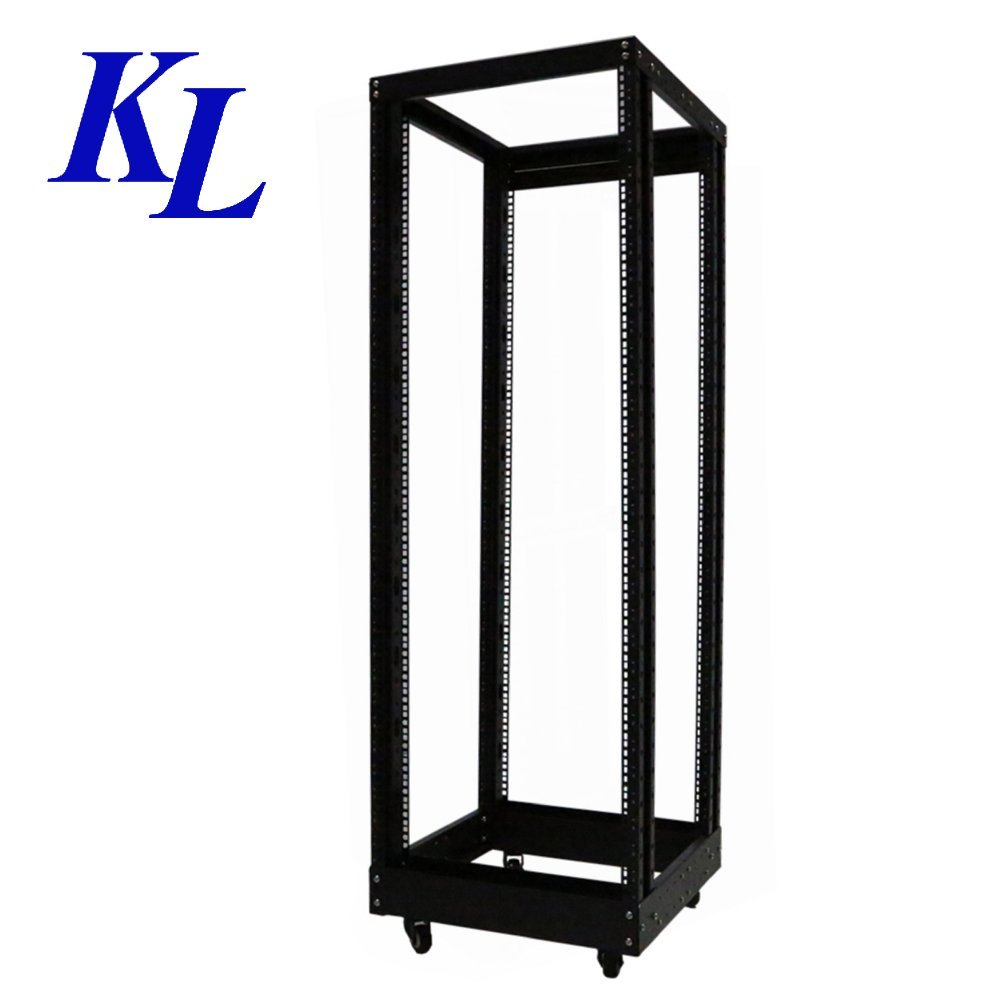 27U 600x Adjustable Depth (600-1000) IT & Telecom 4-Post Open Frame Server Rack with Casters by KLRack