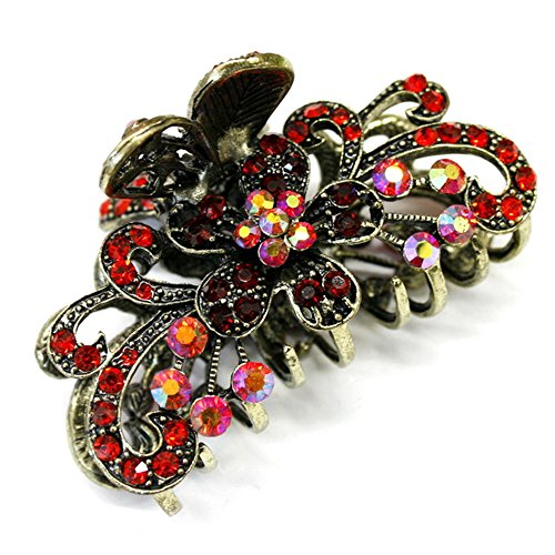 Red Crystal Bronze Metal Alloy flower / butterfly hair claws & clips by unbrand from unbrand