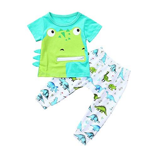 Londony Newborn Kids Baby Boys' Short-Sleeve Toddler Boys Girls Cartoon Dinosaur Print Tops T Shirt Pants Outfits Set Green ()