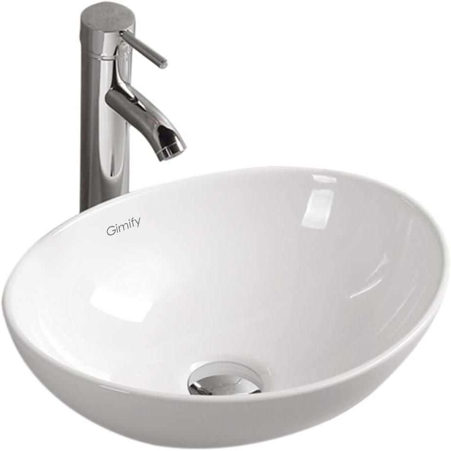 Lavabos Sobre Encimera Cerámica sin Desbordamiento para el Baño - Muy elegante