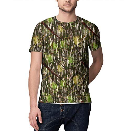 3D Print Young Men T Shirt Vintage Sports Camouflage Realistic Leaves White Short Sleeve Tees