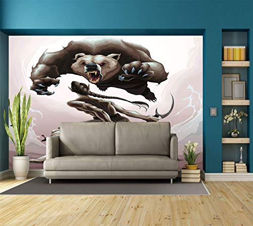 Funky Wall Mural Sticker [ Bear,Mythological Battle Scene