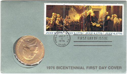 1976 American Bicentennial Commemorative Medal & Stamps First Day Cover - Thomas Jefferson -