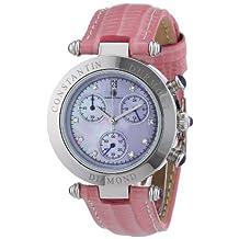 Constantin Durmont Women's Quartz Watch Visage CD-VISL-QZ-LT-STST-PKD with Leather Strap