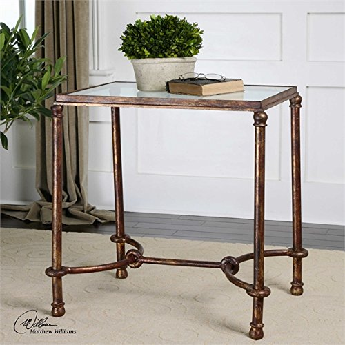 Ambient Inspired By Ancient Horse Bridles, This Accent Table Of Forged Iron Is A Blending Of Rings And Curves Finished In Rustic Bronze Patina The Top Is Made Of Clear, Tempered Glass End Tables (Inspired Bridle)