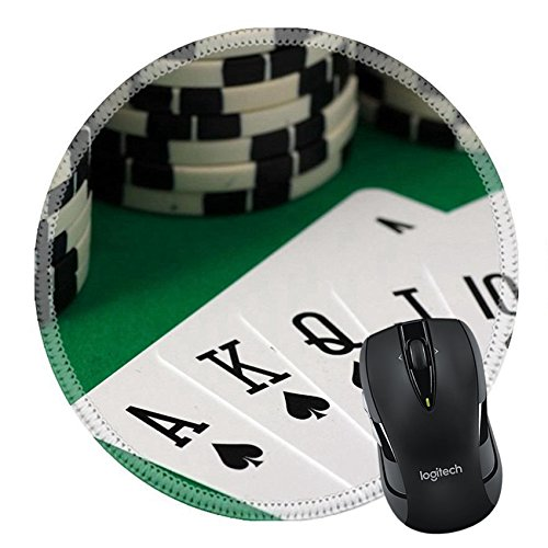 MSD Natural Rubber Mousepad Round Mouse Pad/Mat: 35330067 The Best Poker Hand Royal Flush