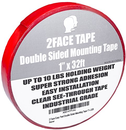 "2FaceTape Double Sided Tape and Peeling Comb - Heavy Duty Mounting Roll - Easy peel and No Residue - Works Great for Women Clothes, Automotive, Carpets, Safe on Skin, Weather Resistant (1"" X 32 Feet"")"