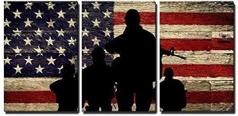3 Panel ( x 3 Panels Silhouette of Troops)