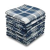 Neatpal 100% Cotton Men's Handkerchiefs Checker Pattern 12 Pieces Blue
