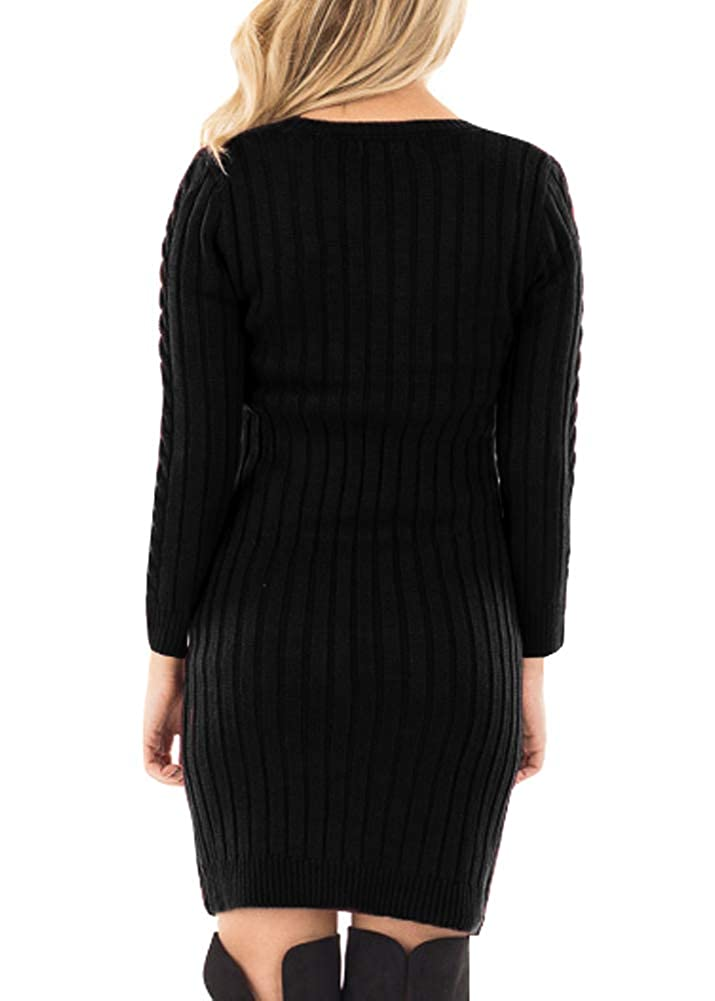 c32003a9766 Spadehill Women s Cable Knit Long Sleeve Winter Sweater Dress at Amazon  Women s Clothing store