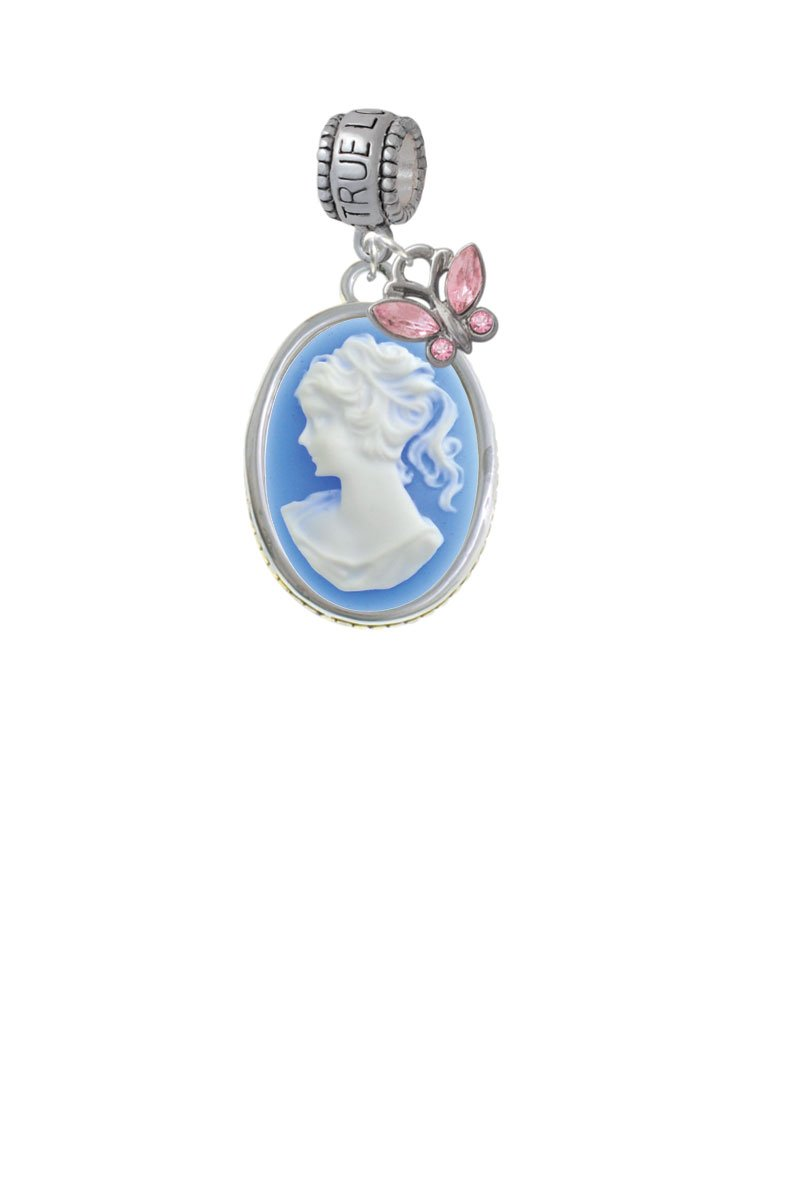 Oval - Blue Cameo - True Love Waits Charm Hanger with Mini Pink Butterfly