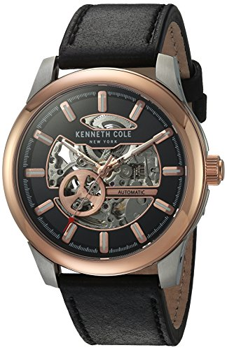 Kenneth Cole New York Men's Stainless Steel Japanese-Automatic Watch with Leather Strap, Black, 22 (Model: 10031275)