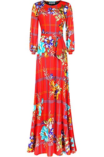 Bon Rosy Women's #MadeInUSA Long Sleeve Printed Maxi Floral Dress Summer Wedding Guest Party Bridal Baby Shower Maternity Nursing Red XL