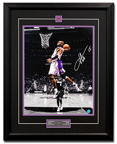 Autographed Slam Dunk - AJ Sports World Vince Carter Toronto Raptors Autographed Spotlight Slam Dunk 25x31 Frame