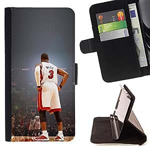 - Wade 3 Basketball - - Prima caja de la PU billetera de cuero con ranuras para tarjetas, efectivo desmontable correa para l Funny HouseFOR Sony Xperia Z2 D6502