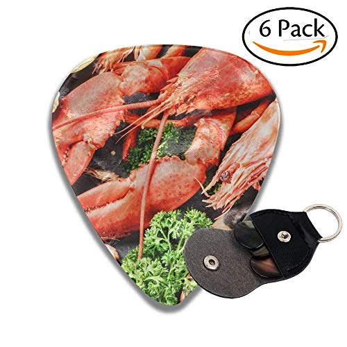 ustacean For Dinner Lobster Crab And Jumbo Shrimps And Oysters On Dark Colorful Celluloid Guitar Picks Plectrums For Guitar Bass .46mm 6 Pack ()