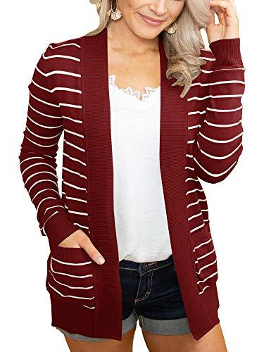 (Tutorutor Womens Tops Striped Open Front Cardigan Sweaters Coat Lightweight Outwear Casual Duster with Pockets)