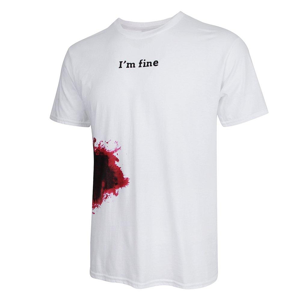B Blesiya T-shirt Di Moda Da Uomo A Manica Corta In Cotone Con Manica Corta Stampata A Sangue