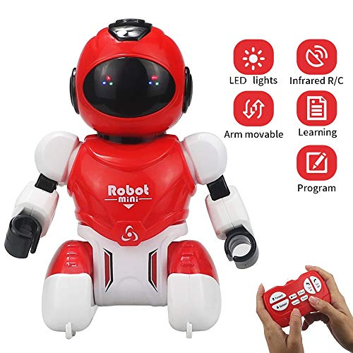 (Elemusi Remote Control Wireless Mini Robot Interactive Programmable Robot Toys with Sliding,Song,Music,Tongue Twister,Math,Great Birthday Gift for Kids. (Red))