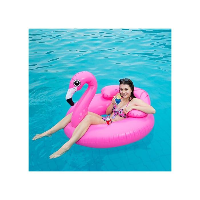 """516 DD1gSBL Adorable flamenco inflado con diámetro 45 """"de JOYIN, ¡Salón de la piscina de diseño único! Dimensión inflada: 45"""" x 50 """"x 39"""". Este colchoneta hinchable hay 2 portavasos y reposacabezas. El diseño exclusivo de la almohada, se puede sentir más comodidad y relajación. Diseño nuevo y premium: un flamenco rosado tropical con dos portavasos y ojos lindos y centelleantes."""