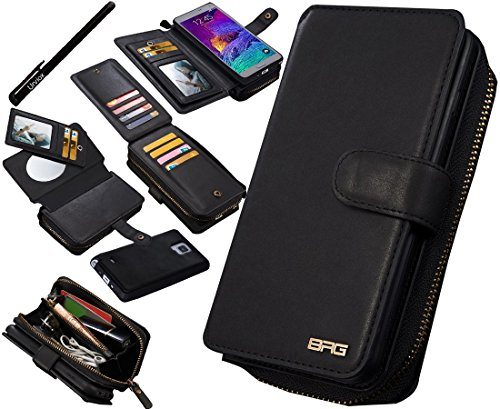 (Urvoix Galaxy Note4 Case, Premium Leather Zipper Wallet Multi-Functional Handbag Detachable Removable Magnetic Case with Flip Card Holder Cover for Samsung Galaxy Note 4 N910)