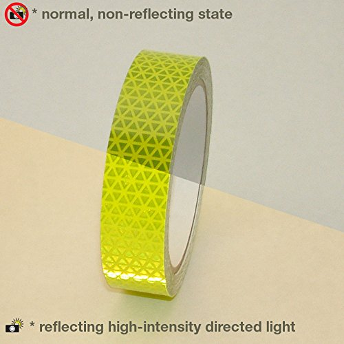 Oralite V98 Microprismatic Retroreflective Conspicuity Tape: 1 in. x 15 ft. (Fluorescent Lime Yellow)