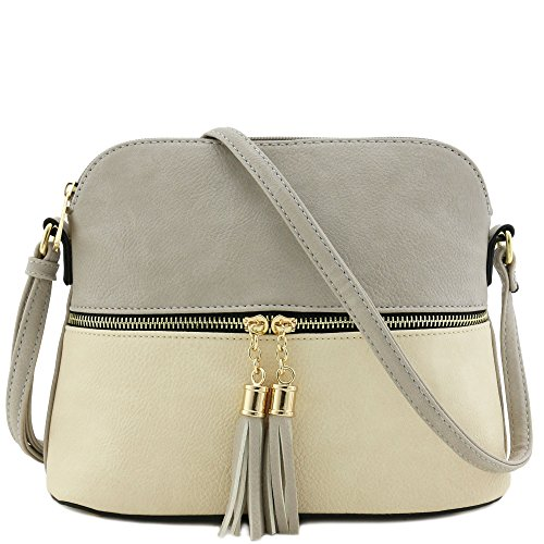(Tassel Zipper Pocket Crossbody Bag (Light Grey/Beige))
