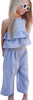 Sasstaids Säuglinge Set Kleinkind Kinder Baby Mädchen Gestreifte Rüschen Tops T Shirt + Hosen + Stirnband Outfits Sets