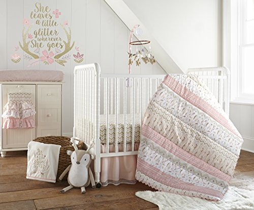 (Levtex Baby Delia Blush and Gold Woodland Feathers 5 Piece Crib Bedding Set, Quilt, 100% Cotton Crib Fitted Sheet, Dust Ruffle, Diaper Stacker and Large Wall Decals)