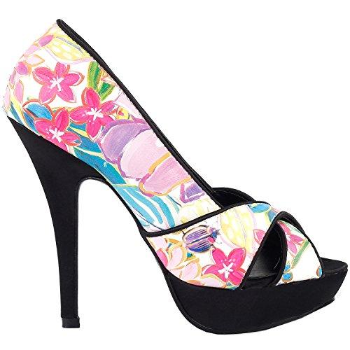 Show Story Fab mehrfarbigem Floral Criss Cross Plattform Stiletto Schuhe, LF30474 Rosa