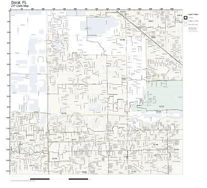 Amazon.com: ZIP Code Wall Map of Doral, FL ZIP Code Map Not ... on