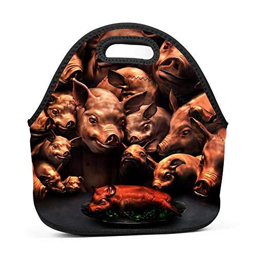 Atafutf Lunch Bags,Fantasy Pig and Roast Suckling Pig Printed Handbags Tote Food Box for Kids,Outdoor,Travel,Picnic,Adults