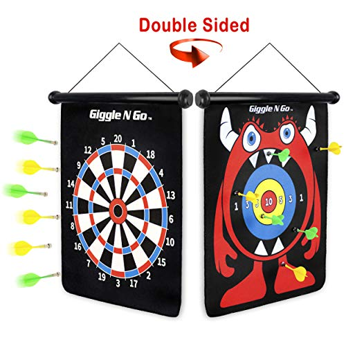 GIGGLE N GO Magnetic Dart Board Game - Our Reversible Rollup Kids Dart Board Set Includes 6 Safe Darts, 2 Dart Games and Easily Hangs Anywhere - Ultimate in Indoor Games (Monster Theme) ()