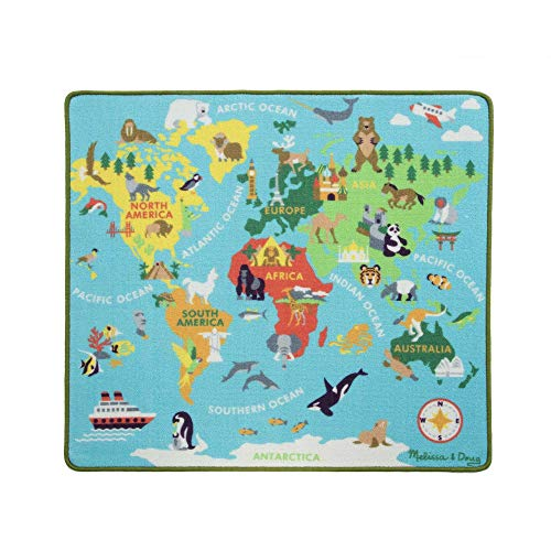 Melissa & Doug Round The World Travel Activity Rug (3 Wooden Vehicles, Passport with Stickers, 39