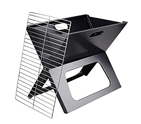 HOKIPO Steel Flat Folding Portable Barbecue BBQ Grill (Black)