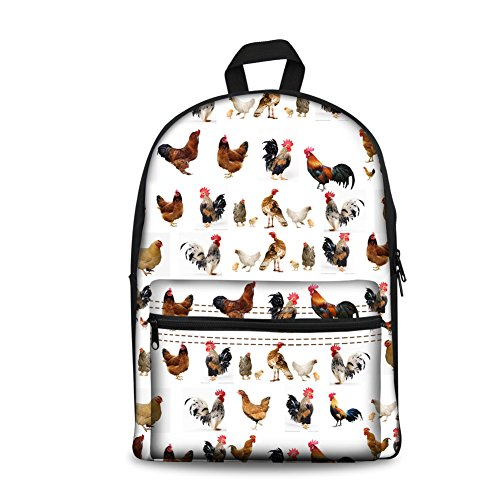 HUGS IDEA Chicken Printed Funny Kids Backpack Children School Bags Bookbag (Chicken Bag)