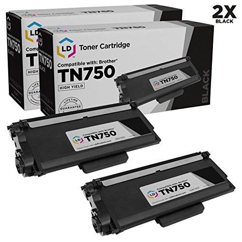 LD Compatible Toner Cartridge Replacement for Brother TN750 High Yield (Black, 2-Pack)