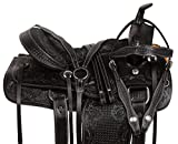 AceRugs Black Horse Saddle Western Endurance Riding Pleasure Trail Hand Tooled Leather TACK Package Full Quarter Bars