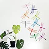 ufengke® 10-Pcs 3D Dragonflies Wall Stickers Fashion Design DIY Colorful Dragonfly Art Decals Crafts Home Decoration, E