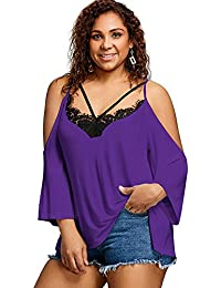 Women's Plus Size Cold Shoulder Lace Patchwork Front Strappy Shirt Blouse